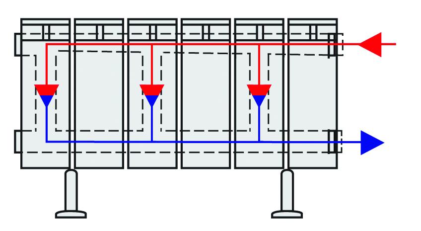Схема движения теплоносителя в